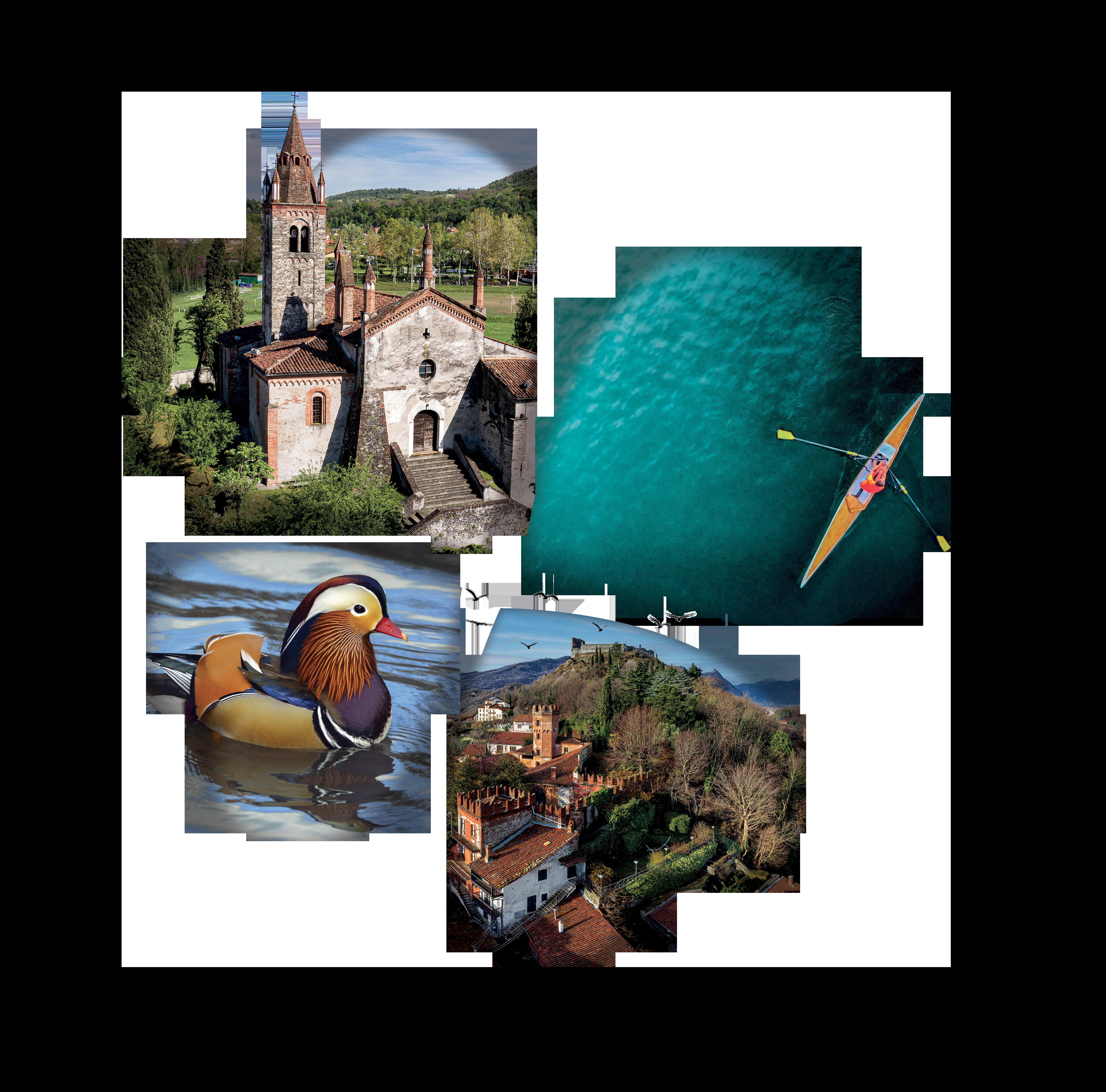 il logo di Avigliana con delle immagini del luogo