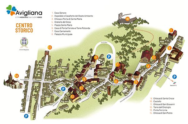 Scarica la mappa del centro storico di Avigliana